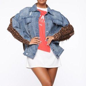 Fashion Nova leopard denim jacket (New)